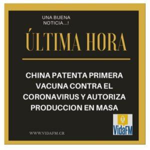 CHINA PATENTA VACUNA CONTRA COVID 19 Y AUTORIZA PRODUCCIÓN EN MASA