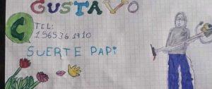"""SUERTE PAPI"": CON DIBUJO UNA NIÑA APOYA TRABAJO DE SU PAPÁ."
